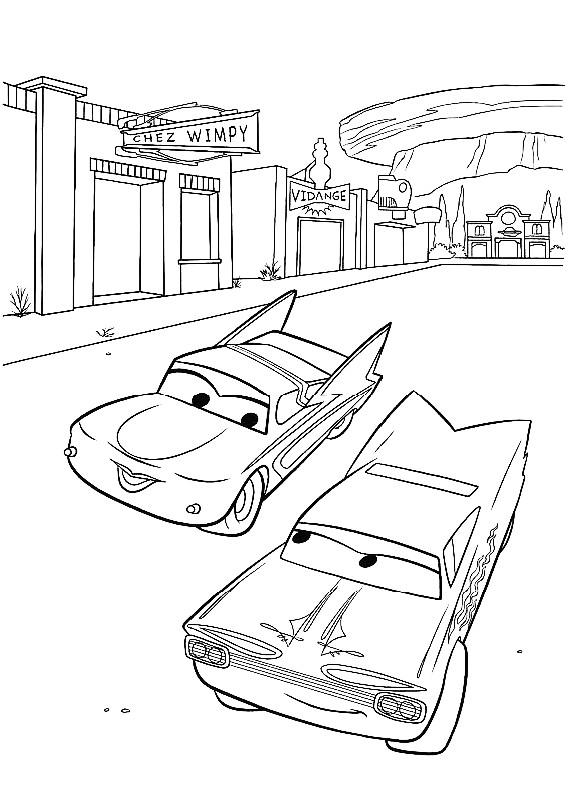 Disegno di cars con flo e ramon da colorare for Disegno di cars 2 da colorare