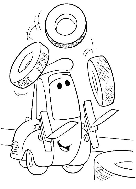Disegno Di Cars Con Guido Che Gioca Con I Pneumatici Da Colorare