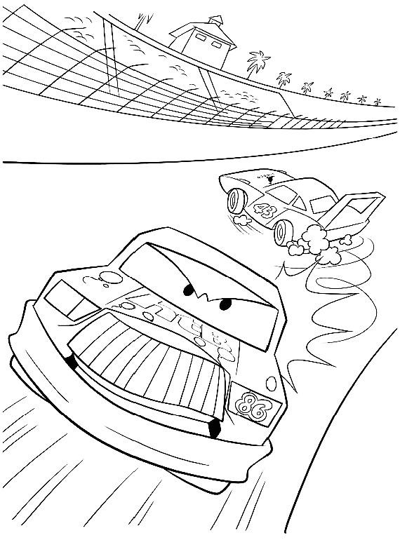 Disegno di cars con chick hicks che corre in pista da colorare for Disegno di cars 2 da colorare