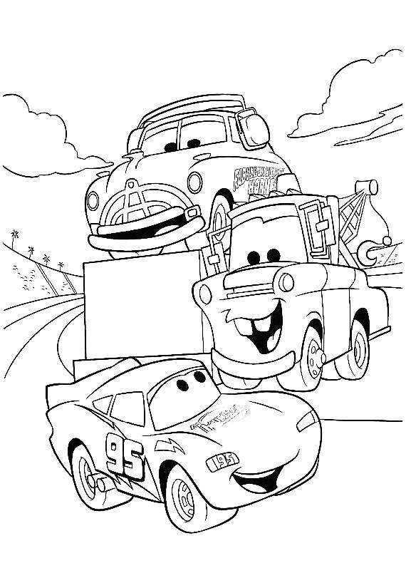 Disegno di cars con saetta cricchetto e hudson da colorare for Disegno di cars 2 da colorare