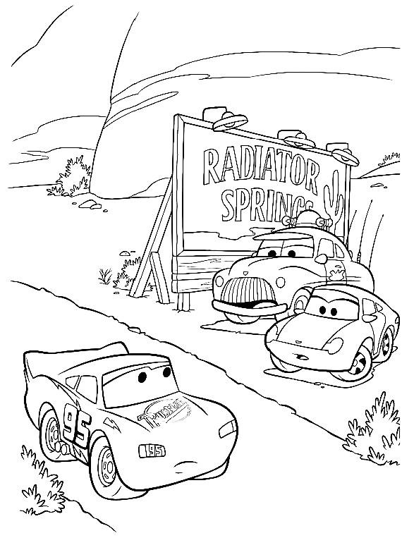 Disegno di cars con saetta mcqueen sally carrera e for Disegno di cars 2 da colorare