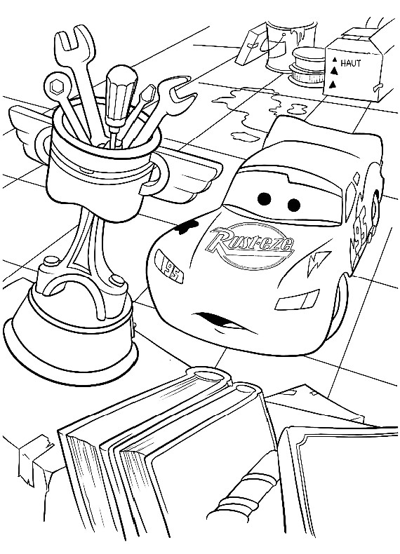 Disegno di cars con saetta mcqueen che guarda il trofeo for Disegno di cars 2 da colorare