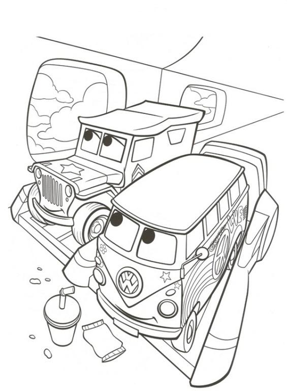 Disegno di cars con sergente e fillmore in aereo da colorare for Disegno di cars 2 da colorare