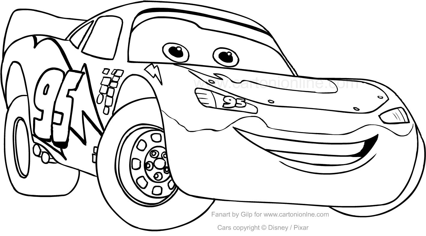 Disegno di saetta mcqueen car da colorare for Disegni da stampare e colorare cars
