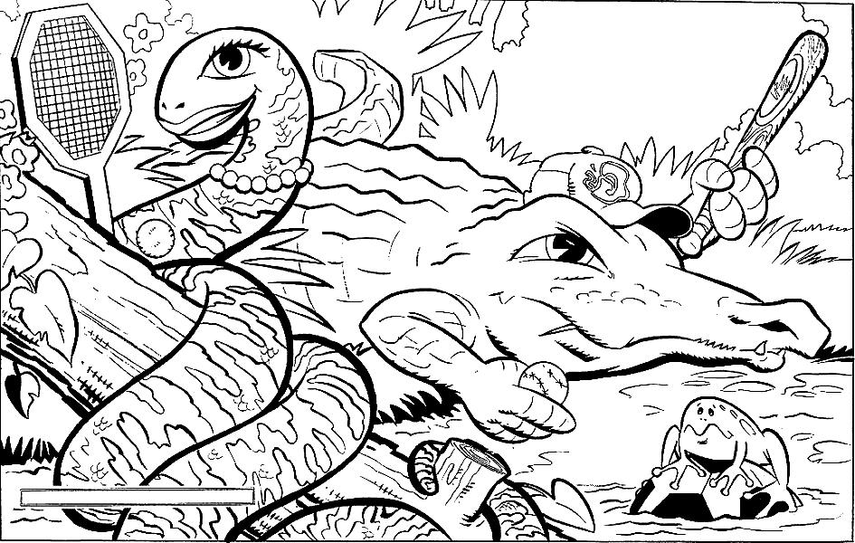 Disegno 9 di coccodrilli da stampare e colorare