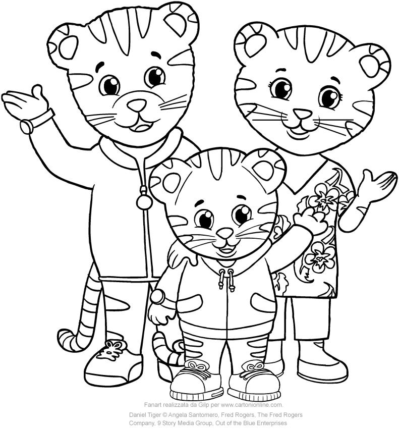 Disegno di Daniel con il papà e la mamma Tiger di Daniel Tiger da stampare e colorare