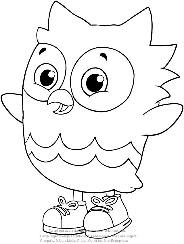 Disegno di Gu il gufo amico di Daniel Tiger da stampare e colorare