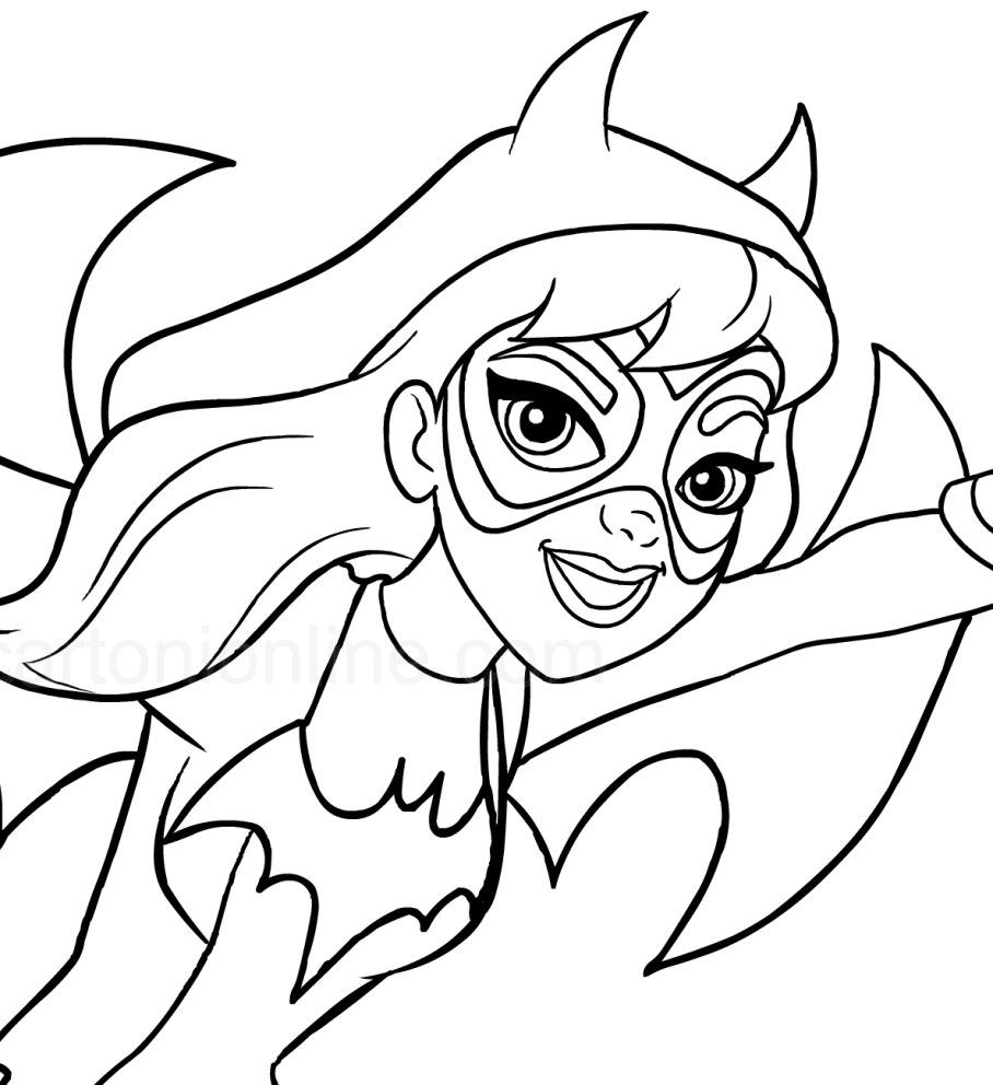 Coloriage de Batgirl au premier plan (DC Superhero Girls) à imprimer et colorier