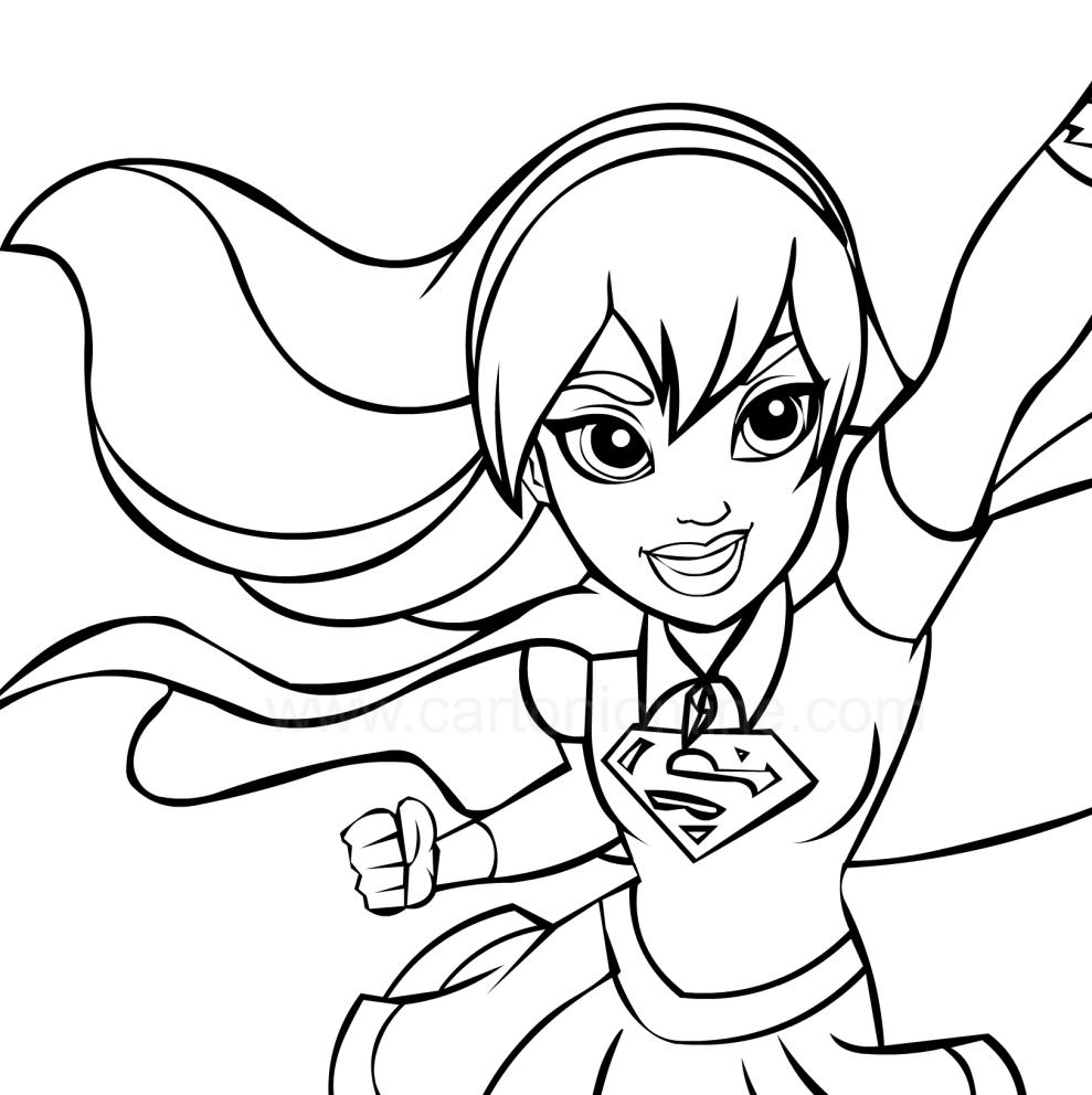 Supergirl au premier plan (DC Superhero Girls) pour imprimer et colorier