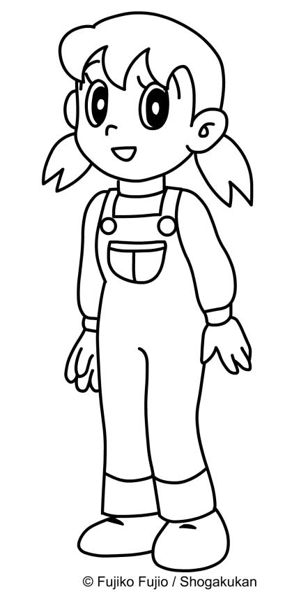 Shizuka, amiga de Nobita para imprimir y colorear