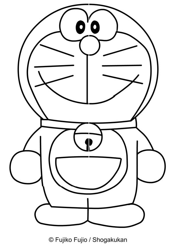 Dibujo de Doraemon sonriendo para imprimir y colorear