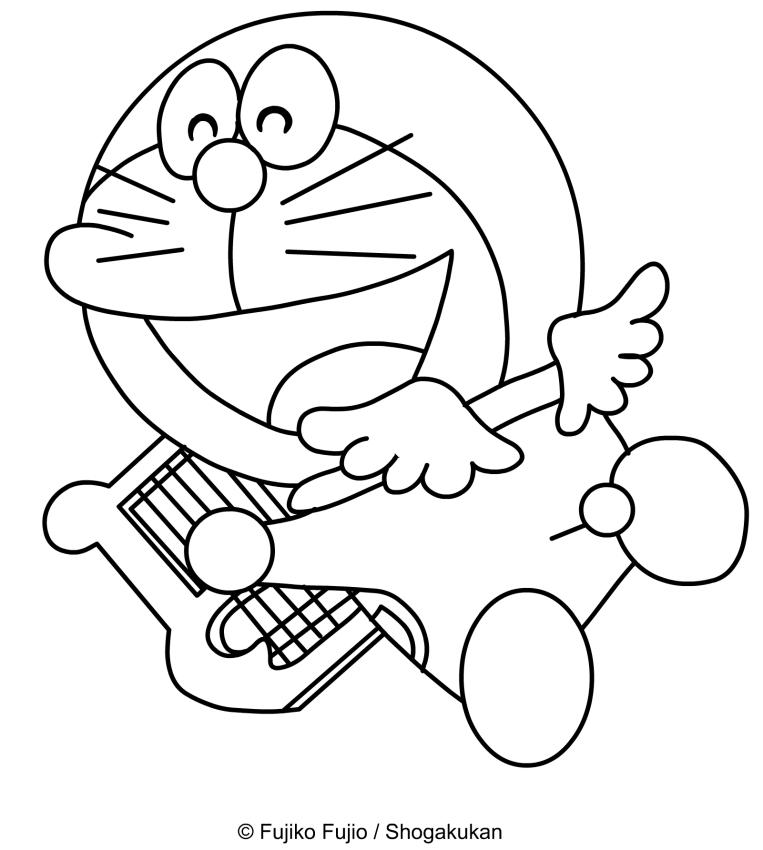 Dibujo de Doraemon Angel con alas y lira para imprimir y colorear