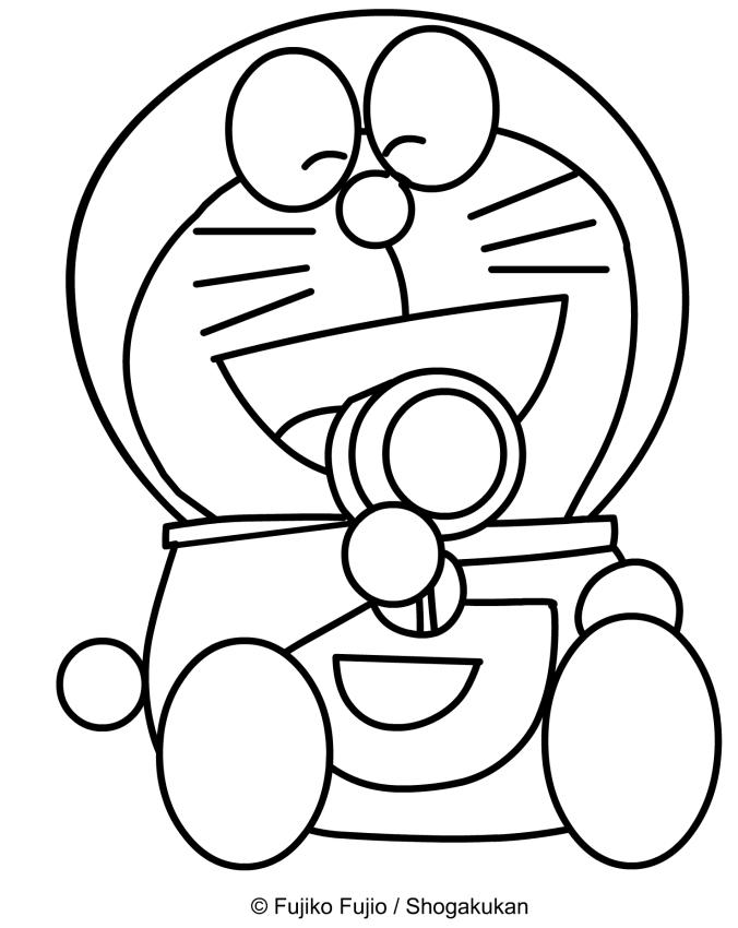 Disegno di doraemon che mangia un biscotto da colorare for Doraemon immagini da colorare