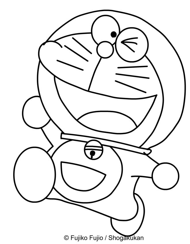 Dibujo de Doraemon caminando feliz para imprimir y colorear