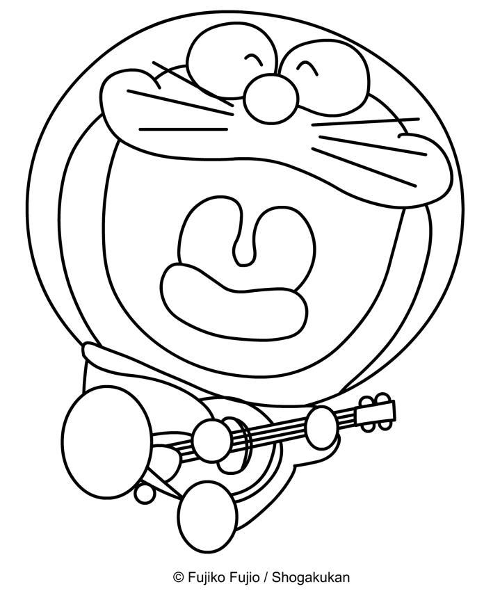 Dibujo de Doraemon cantando y tocando la guitarra para imprimir y colorear