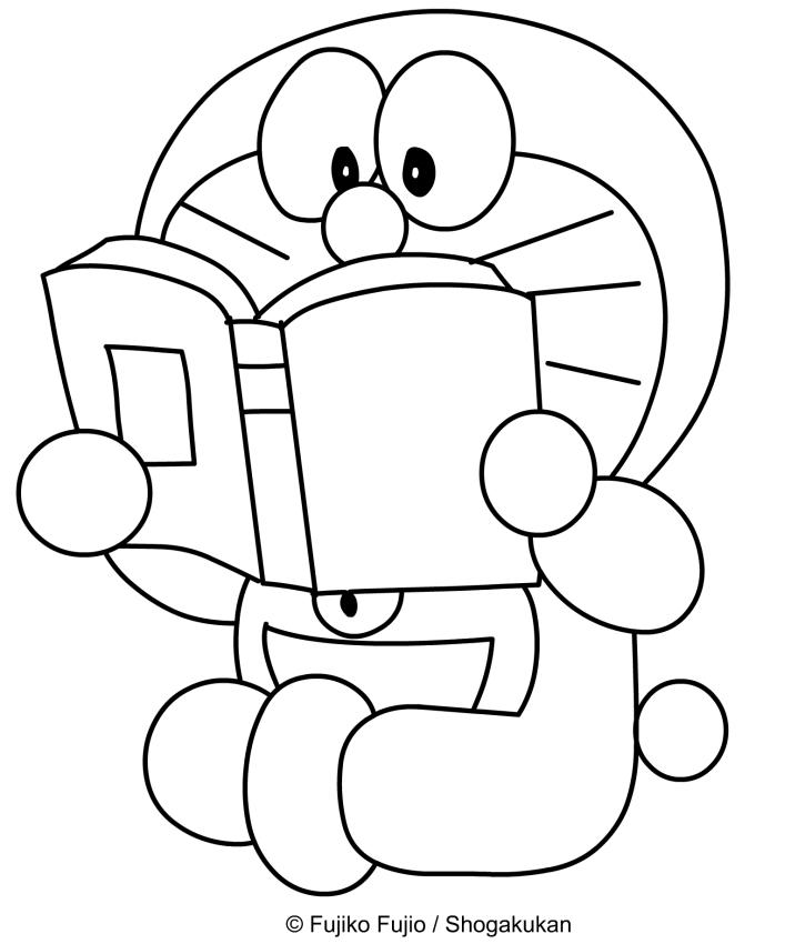 Dibujo de Doraemon leyendo un libro para imprimir y colorear