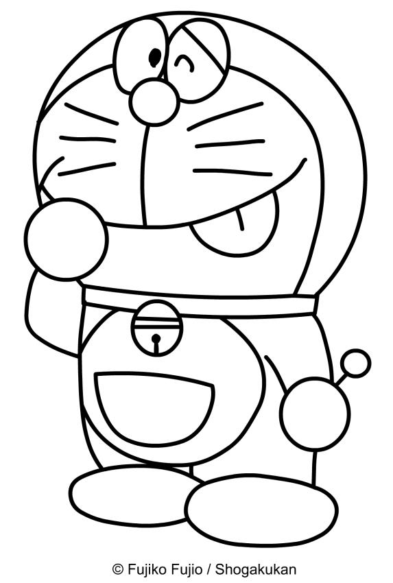 Doraemon con expresión avergonzada para imprimir y colorear