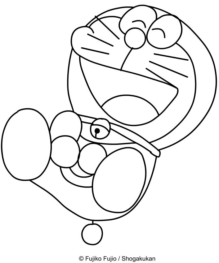 Dibujo de Doraemon riendo para imprimir y colorear