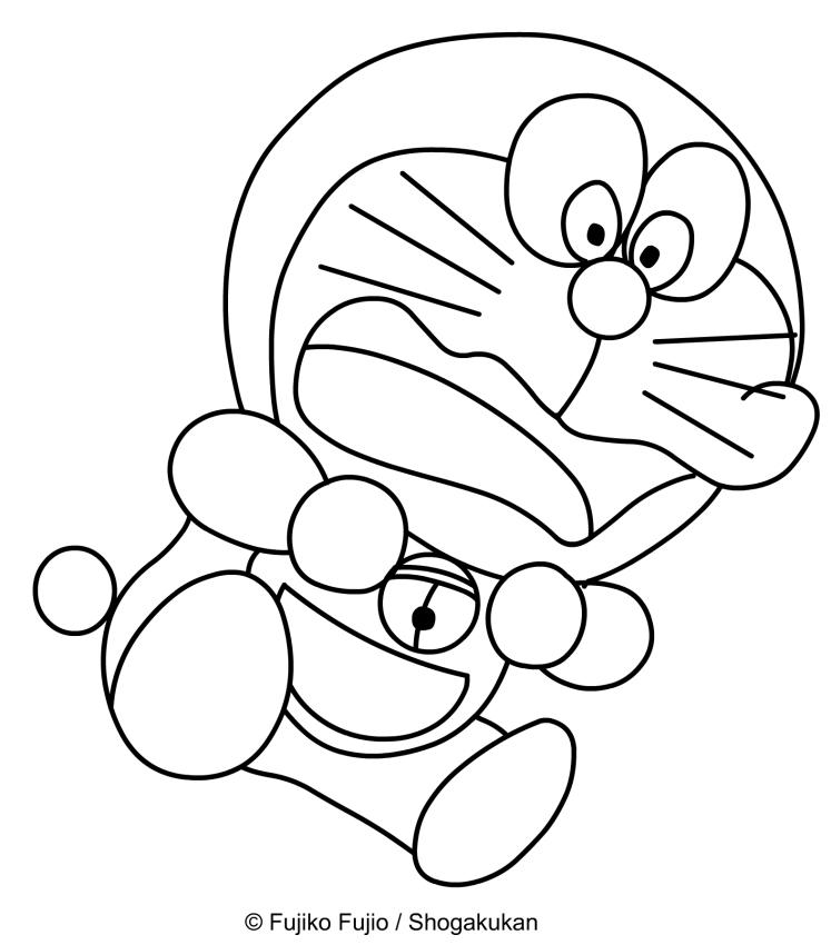 Dibujo de Doraemon asustado para imprimir y colorear