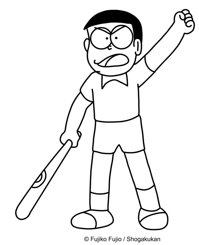Nobita enojada para imprimir y colorear