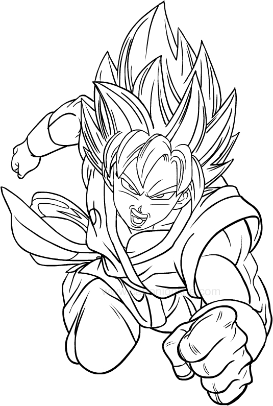 Página para colorear de Dragon Ball Super para imprimir y colorear