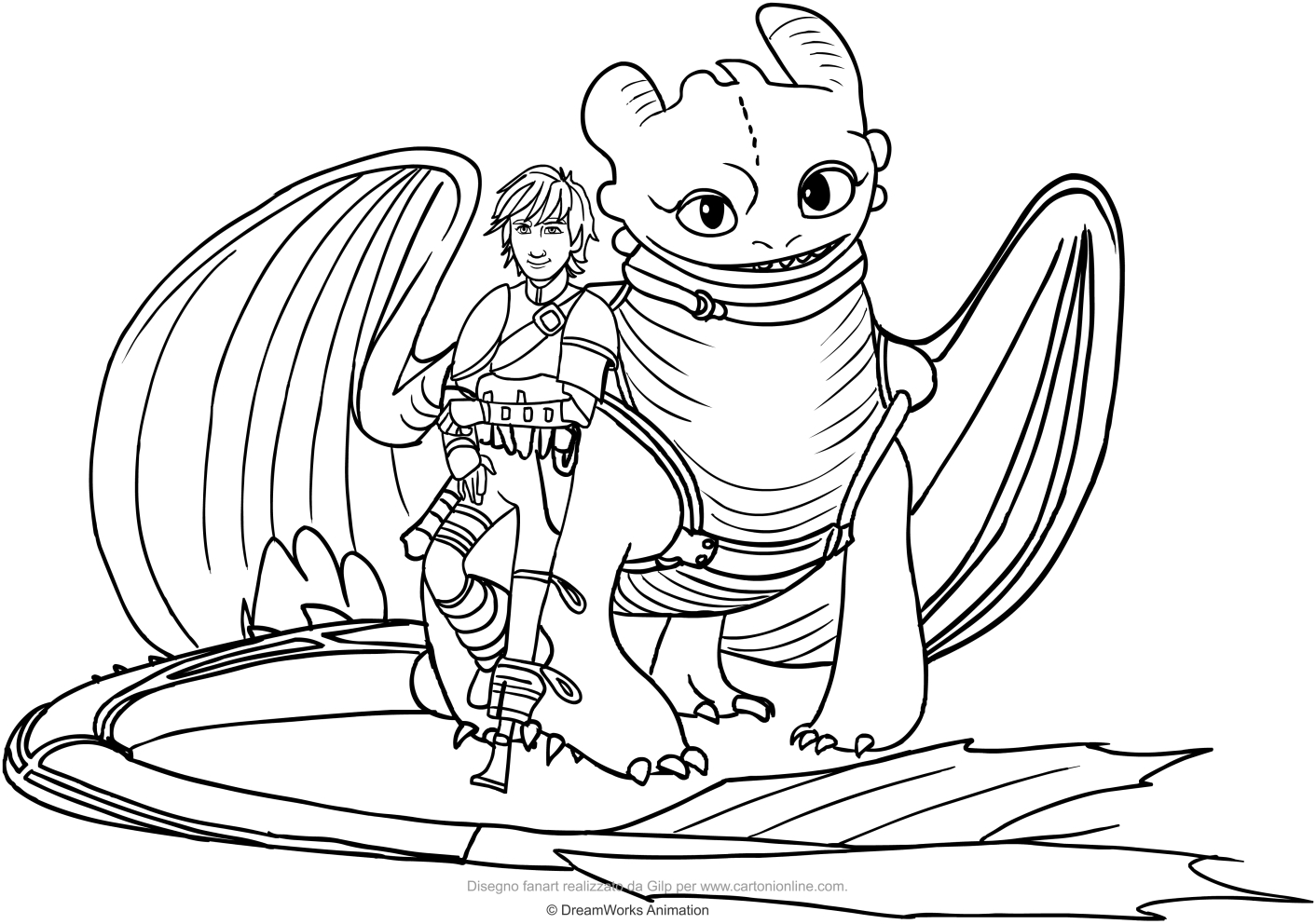Disegno Di Hiccup E Sdentato Il Drago Da Colorare