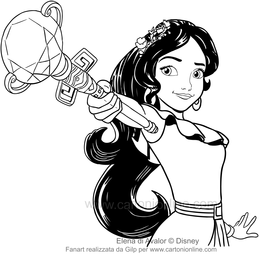 Drawing of Elena of Avalor and the power of the scepter to be printed and colored