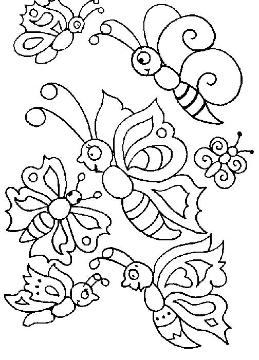 Disegno 6 di farfalle da stampare e colorare