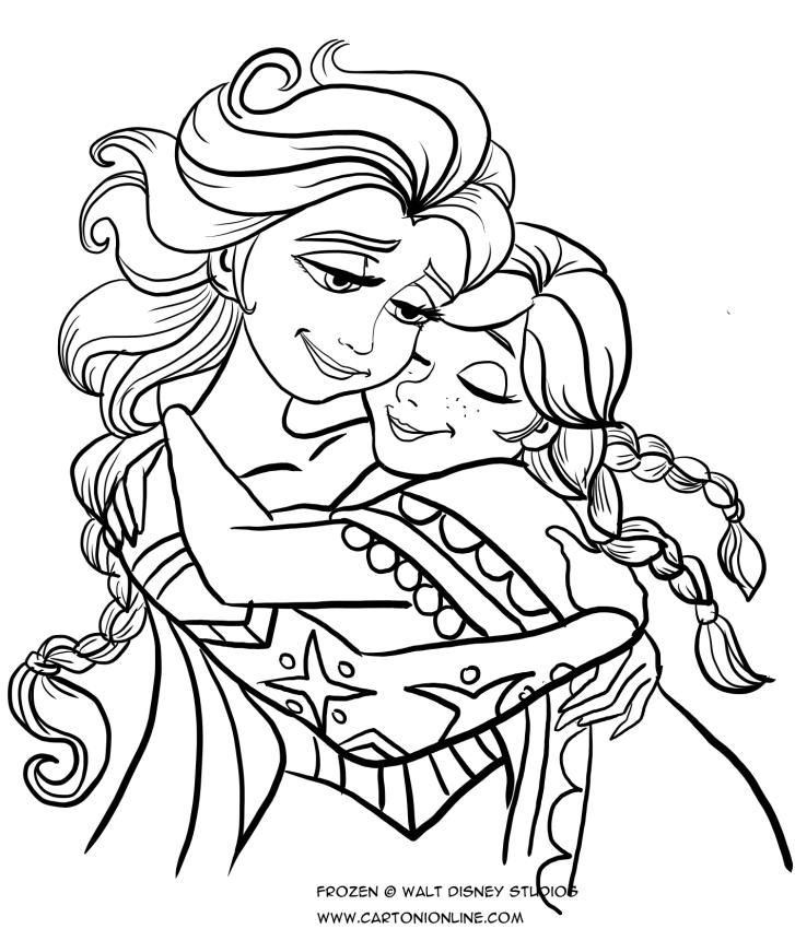 抱きしめるアンナとエルザのアンナり絵を描く-凍りついた氷の王国