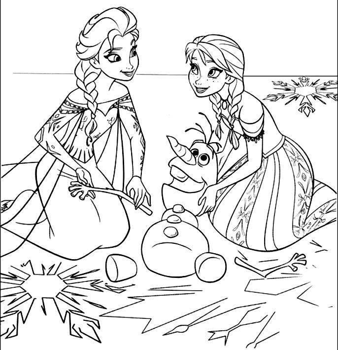 Disegno da colorare di anna ed elsa ricompongono olaf frozen for Frozen da colorare e stampare