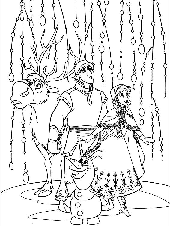 Disegno Da Colorare Di Anna Kristoff Olaf E Sven Tra Gli Alberi