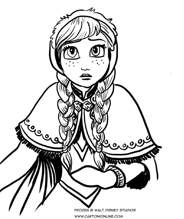 驚きの表情で手前にアナを描いたぬり絵-氷の王国