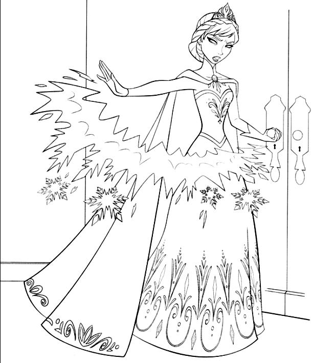 Disegno da colorare di elsa che lancia le freccie di for Frozen da colorare e stampare