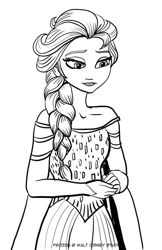 悲しいエルザのぬり絵を描く