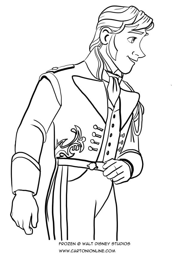 Disegno da colorare del principe hans frozen for Frozen da colorare e stampare