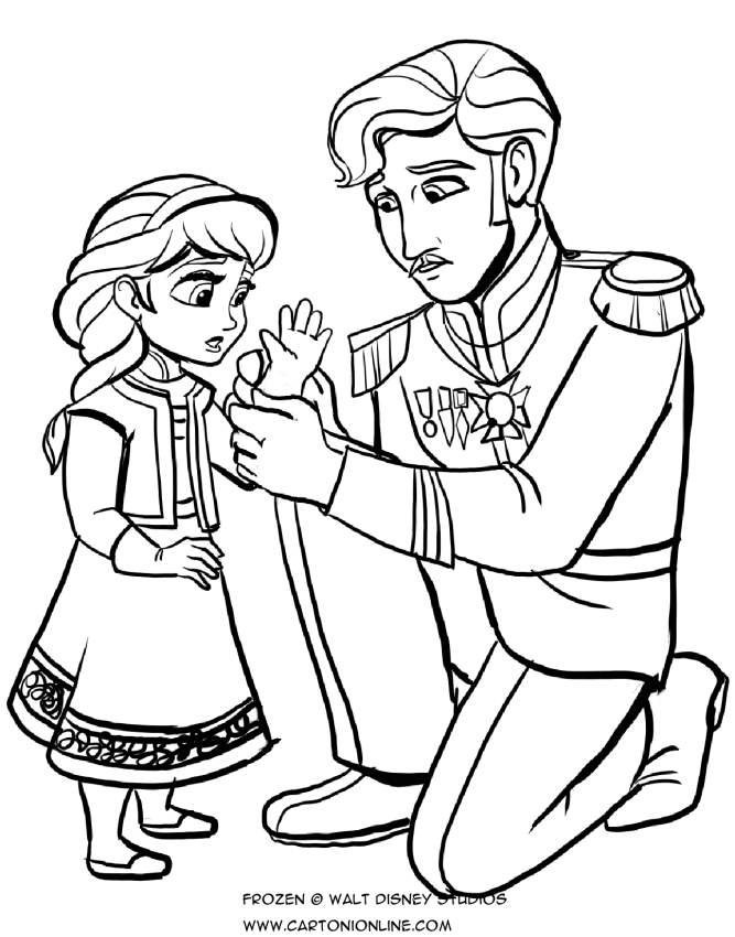 お父さんと一緒に子供の頃のアンナのぬり絵を描く-冷凍