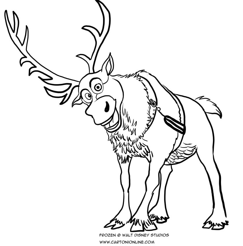 Disegno da colorare della renna sven frozen for Frozen da colorare e stampare