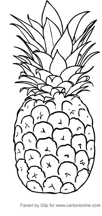 Disegno di ananas da  stampare e colorare