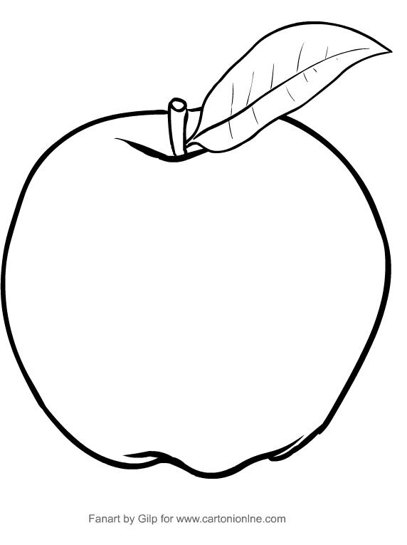Disegno di mela da  stampare e colorare