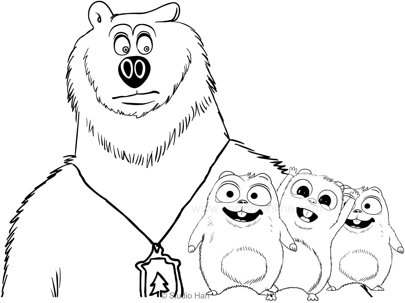Disegno di grizzy e i lemming da colorare for Disegni da colorare zig e sharko