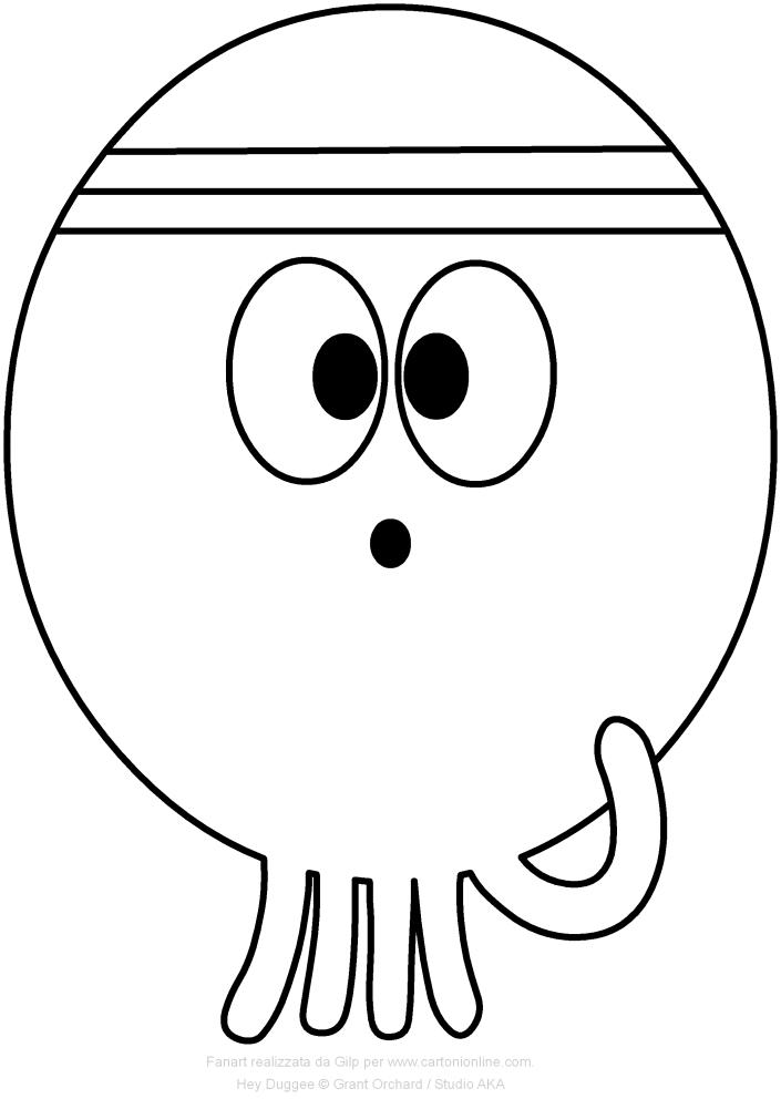 Dibujo de Betty el pulpo de Hey Duggee para imprimir y colorear