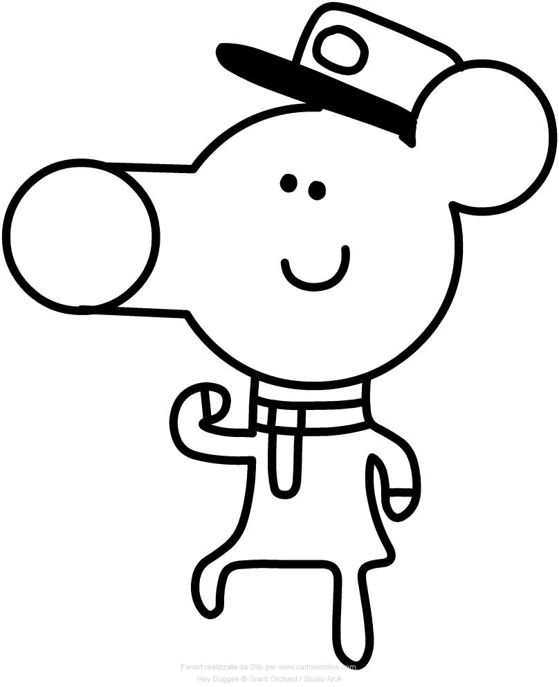 Norrie el ratón Hey Duggee para imprimir y colorear