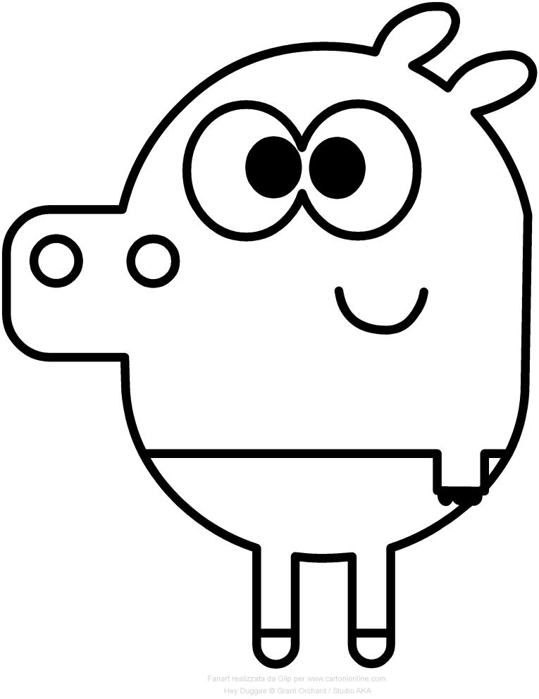 Dibujo de Roly el hipopótamo de Hey Duggee para imprimir y colorear