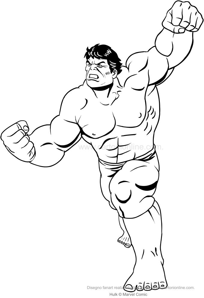 Hulk Attack-tekening om af te drukken en in te kleuren