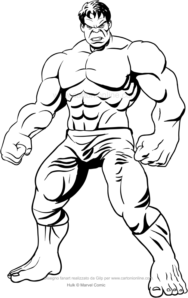 Dibujo frontal de Hulk para imprimir y colorear