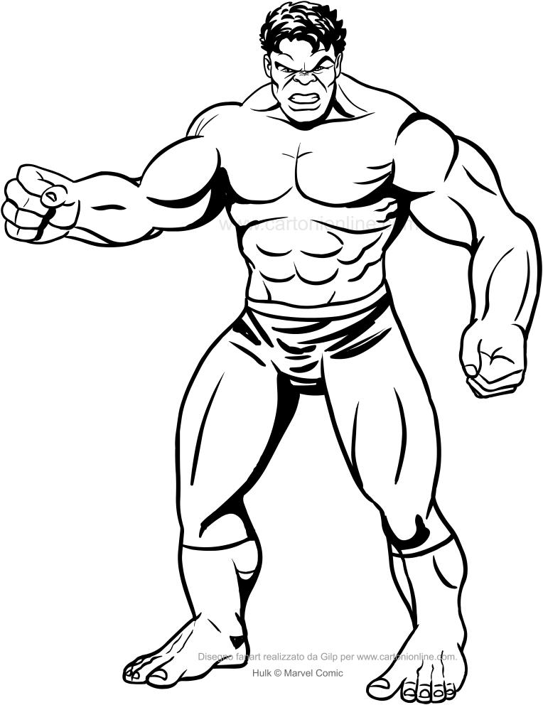 Front Hulk-tekening om af te drukken en in te kleuren