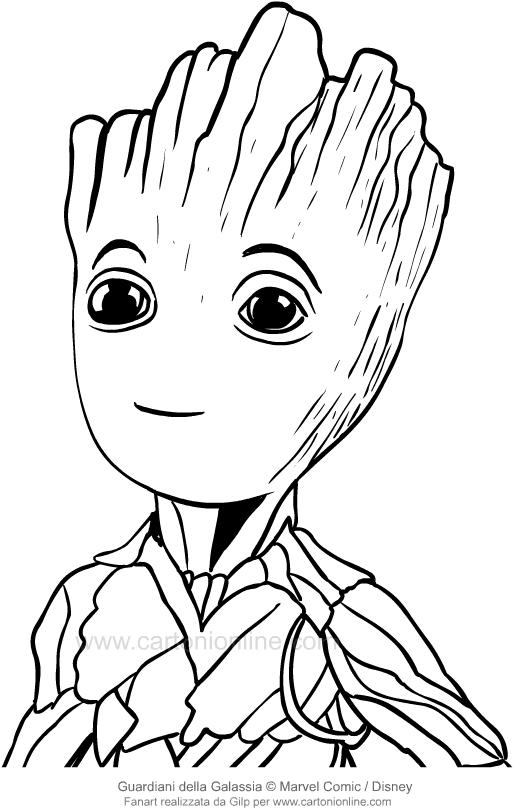 Disegno di groot in primo piano i guardiani della for Groot coloring pages