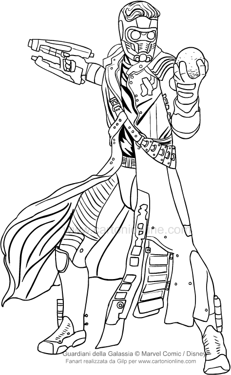 Disegno di Star Lord (I guardiani della Galassia) da colorare