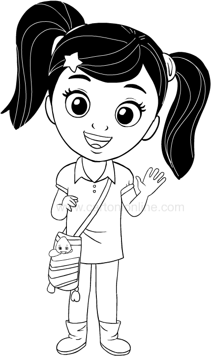 Dibujo de Nina la protagonista de El mundo de Nina para imprimir y colorear