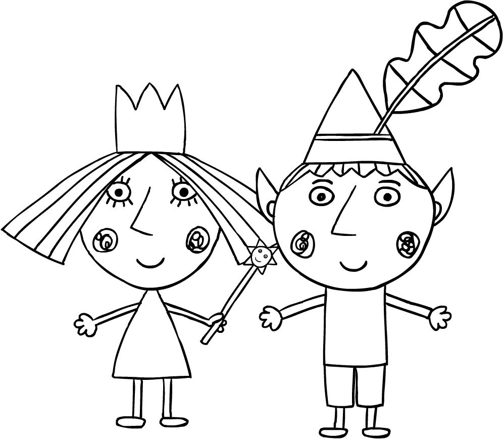 Disegno di Ben e Holly da stampare e colorare